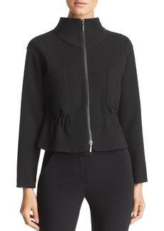 Emporio Armani Cropped Elasticized Zip-Hem Jacket