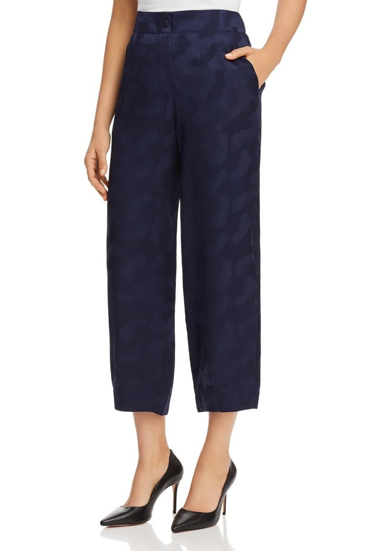 Emporio Armani Cropped Wide-Leg Silk Pants