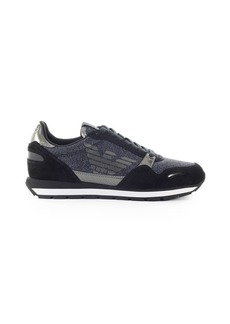 Emporio Armani Dark Blue Glittery Mesh Sneaker