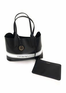 Emporio Armani Designer Logo Stripe Shoulder Tote Bag