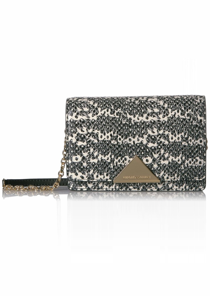 Emporio Armani Designer Mini Snake Skin Print Leather Cross Body Bag