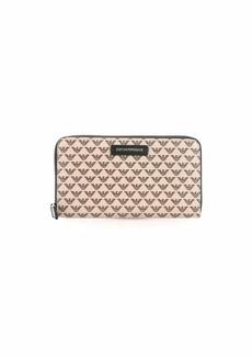Emporio Armani Designer Zip Around Logo Pattern Wallet with Leather Detail Brown/Tan