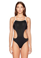Emporio Armani EA7 Women's Duality One Piece Swimsuit with Mesh Inset  M