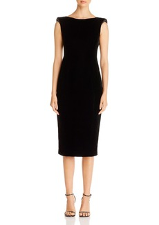 Emporio Armani Embellished Twist-Detail Velvet Midi Dress