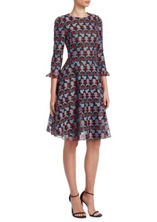 Armani Embroidered Ruffle Dress