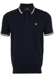 Emporio Armani stripe-trimmed polo shirt - Blue