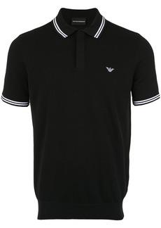 Emporio Armani stripe-trimmed polo shirt - Black