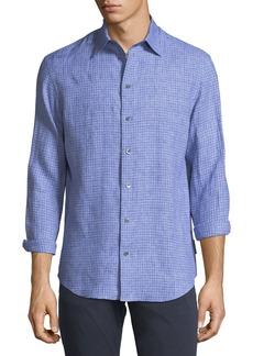 Armani Fancy Check Linen Sport Shirt