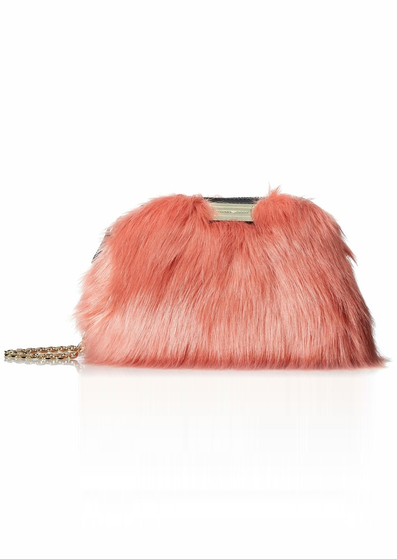 Emporio Armani Faux Fur Clutch brick/black
