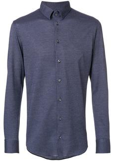 Emporio Armani fine checked slim fit shirt - Blue