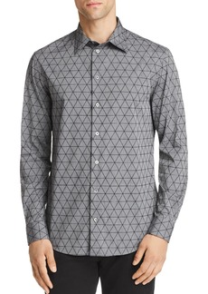 Emporio Armani Flocked Triangle Regular Fit Button-Down Shirt