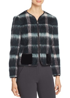 Emporio Armani Fur-Effect Wool-Blend Plaid Jacket