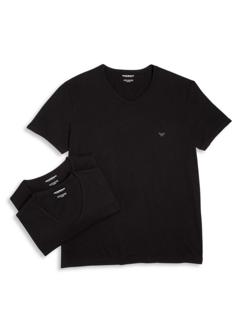 Armani Genuine Cotton V-Neck T-Shirts Set of 3