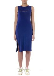 Emporio Armani Indigo Viscose Dress With Logo