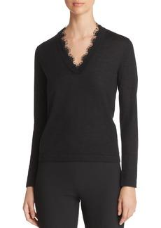 Emporio Armani Lace-Detail Cashmere Sweater