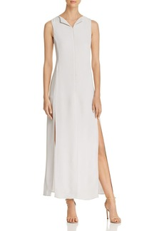 Emporio Armani Lapeled Zip-Front Silk Maxi Dress