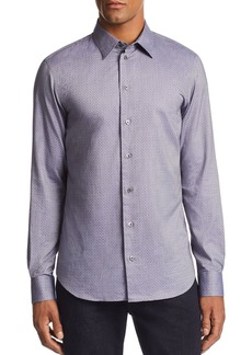 Emporio Armani Layered Diamond-Print Regular Fit Sport Shirt