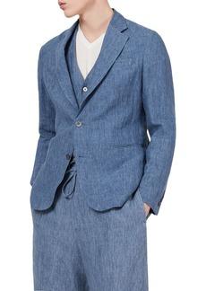 Emporio Armani Linen Solid Slim Fit Blazer