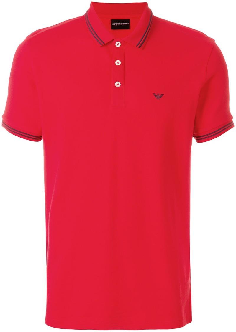 Armani embroidered-logo short-sleeved polo shirt
