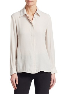 Armani Long Sleeve Silk Button Front Blouse