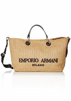 Emporio Armani Medium Raffia Fabricated Top Handle Bag
