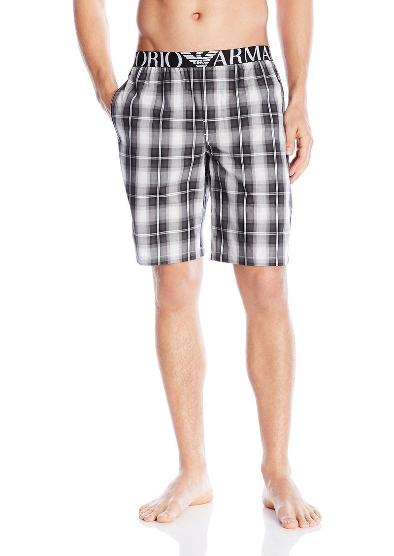 Emporio Armani Men's 100% Cotton Pajama Shorts with Logo Waistband White/Rock/Black Stripe