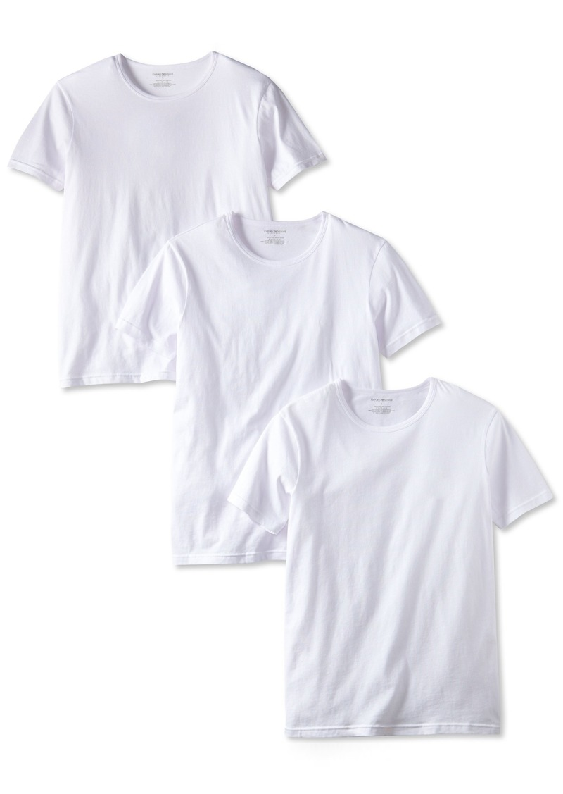 Emporio Armani Men's 3-Pack Crew Neck Lift T-Shirt White