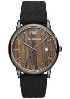 Emporio Armani Men's Black Fabric Felt Strap Watch 43mm