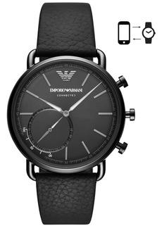 Emporio Armani Men's Black Leather Strap Hybrid Smart Watch 43mm