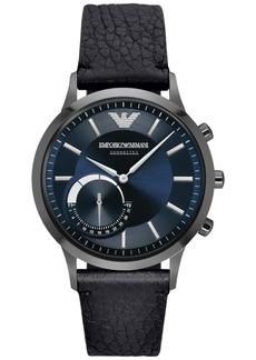 Emporio Armani Men's Black Leather Strap Hybrid Smart Watch 43mm ART3004