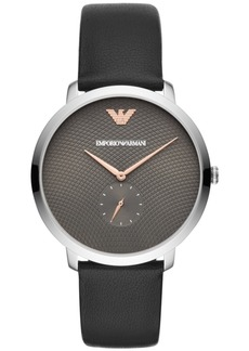 Emporio Armani Men's Black Leather Strap Watch 42mm