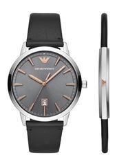 Emporio Armani Men's Black Leather Strap Watch 43mm Gift Set