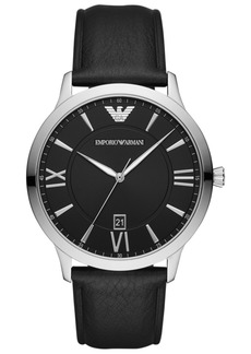 Emporio Armani Men's Black Leather Strap Watch 44mm