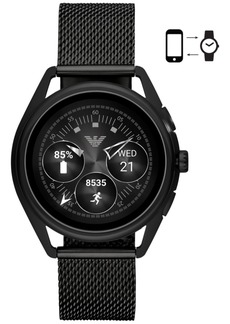 Emporio Armani Men's Black Stainless Steel Mesh Bracelet Touchscreen Smart Watch 43mm