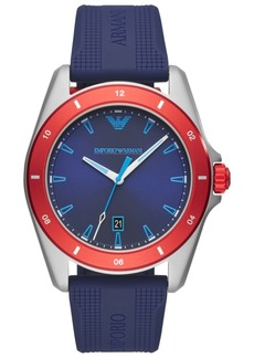 Emporio Armani Men's Blue Silicone Strap Watch 44mm