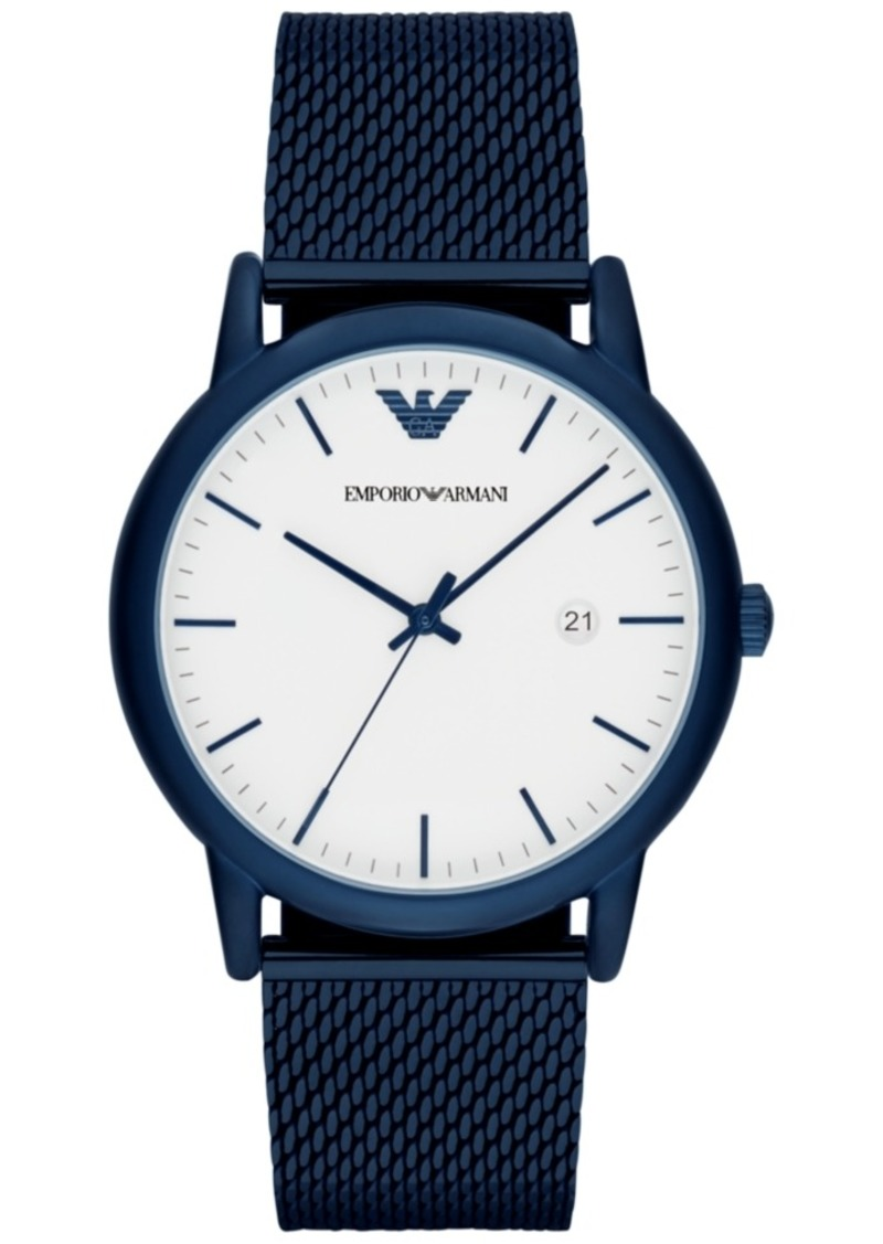 Emporio Armani Men's Blue Stainless Steel Mesh Bracelet Watch 43mm AR11025