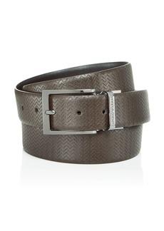 Emporio Armani Men's Chevron Embossed Reversible Leather Belt