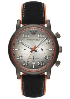Emporio Armani Men's Chronograph Black Leather & Orange Rubber Strap Watch 43mm