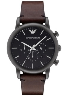 Emporio Armani Men's Chronograph Dark Brown Leather Strap Watch 46mm AR1919