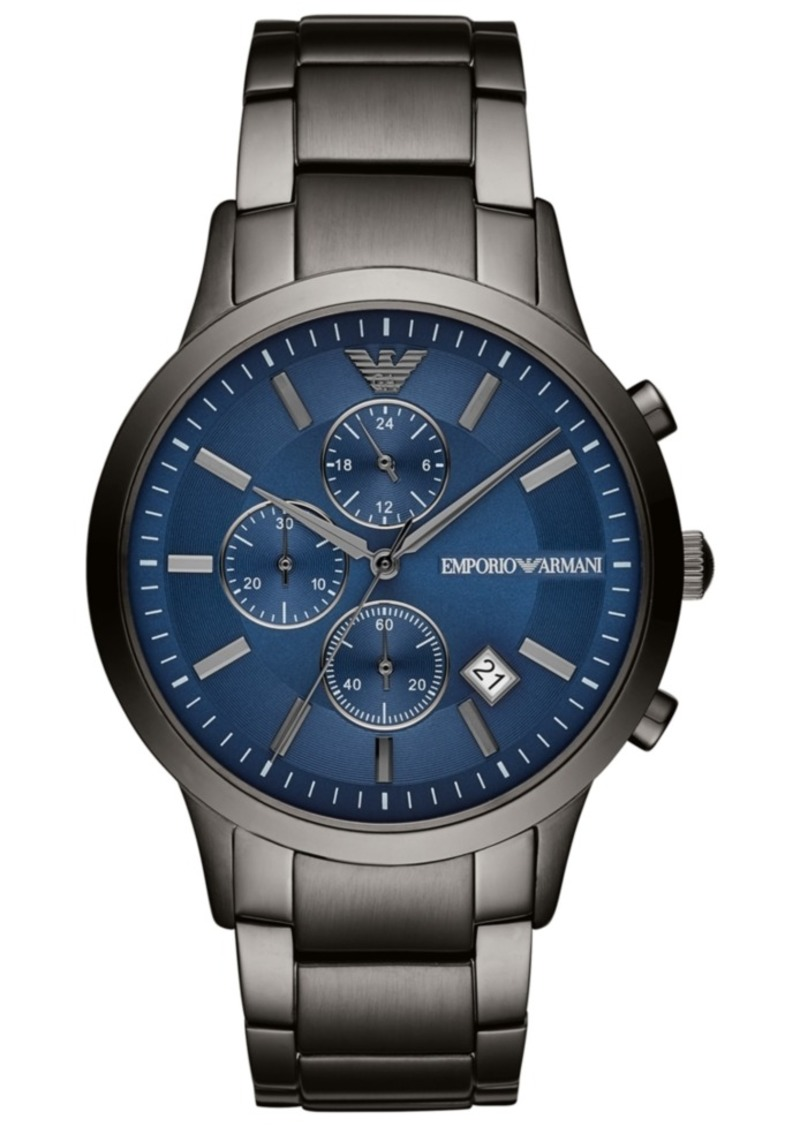 Emporio Armani Men's Chronograph Gunmetal Stainless Steel Bracelet Watch 43mm