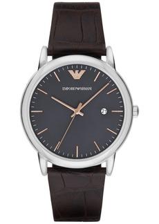 Emporio Armani Men's Luigi Dark Brown Leather Strap Watch 43mm AR1996