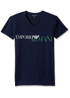 Emporio Armani Men's Mega Logo V-Neck T-Shirt