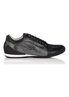 EMPORIO ARMANI Men's Mesh-Layered Leather Sneakers