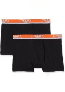 Emporio Armani Men's Monogram 2-Pack Boxer Brief Dark Black Extra Large