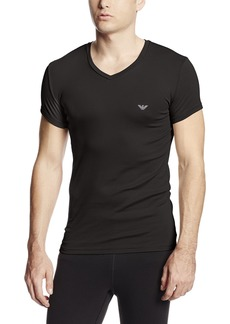 Emporio Armani Men's Pima Rib Cotton V-Neck Knit T-Shirt