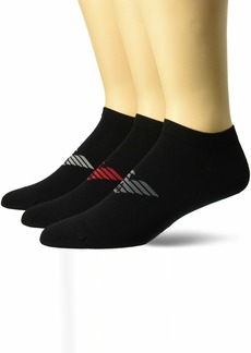 Emporio Armani Men's Plain Cotton 3 Pack in-Shoe Socks Black Medium