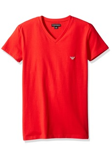 Emporio Armani Men's Shiny Logo Band V-Neck T-Shirt