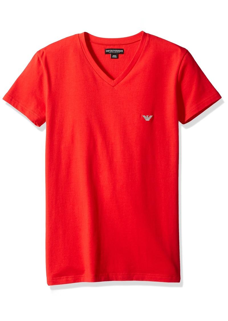 Emporio Armani Men's Shiny Logo Band V-Neck T-Shirt
