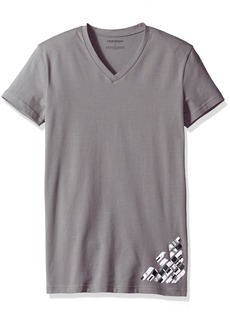 Emporio Armani Men's Silver Touch Eagle V-Neck T-Shirt