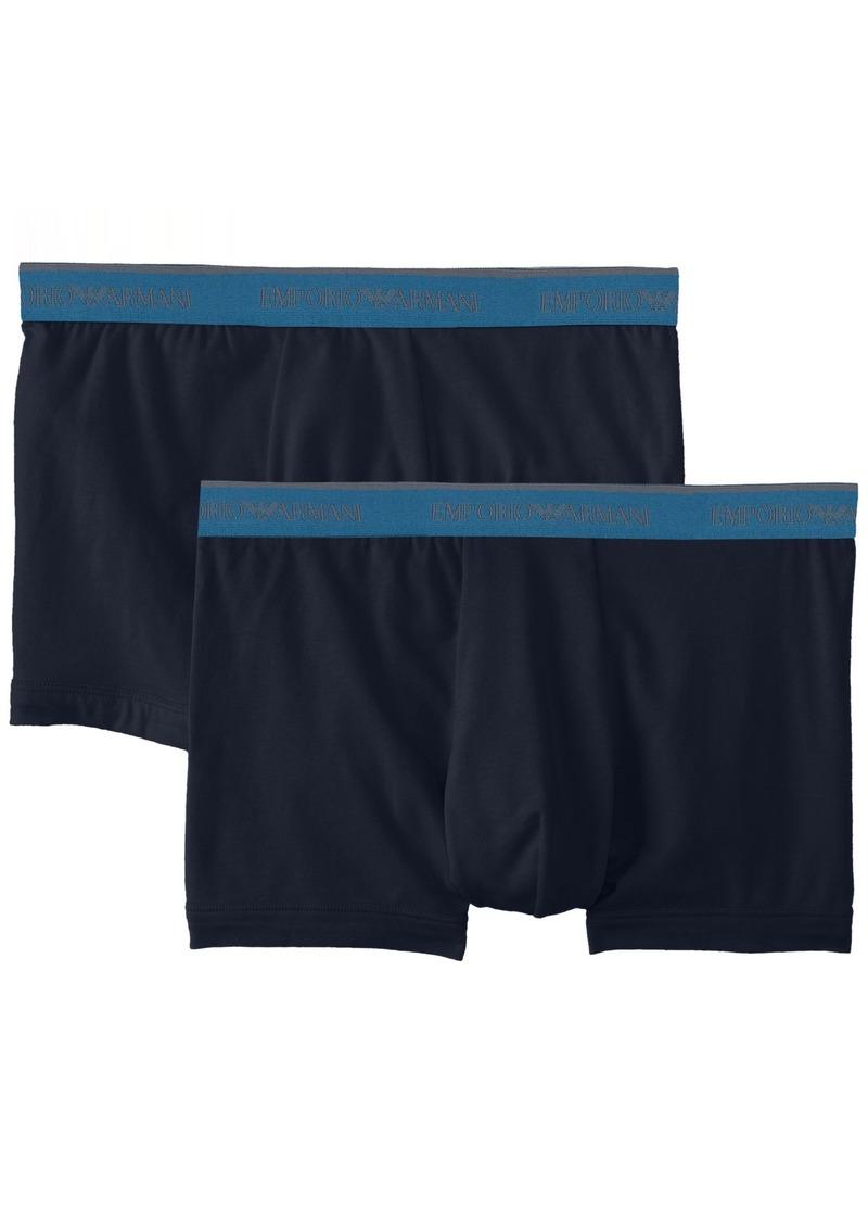 Emporio Armani Men's Stretch Cotton 2 Pack Boxer Navy